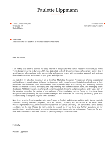 Market Research Assistant Cover Letter Sample