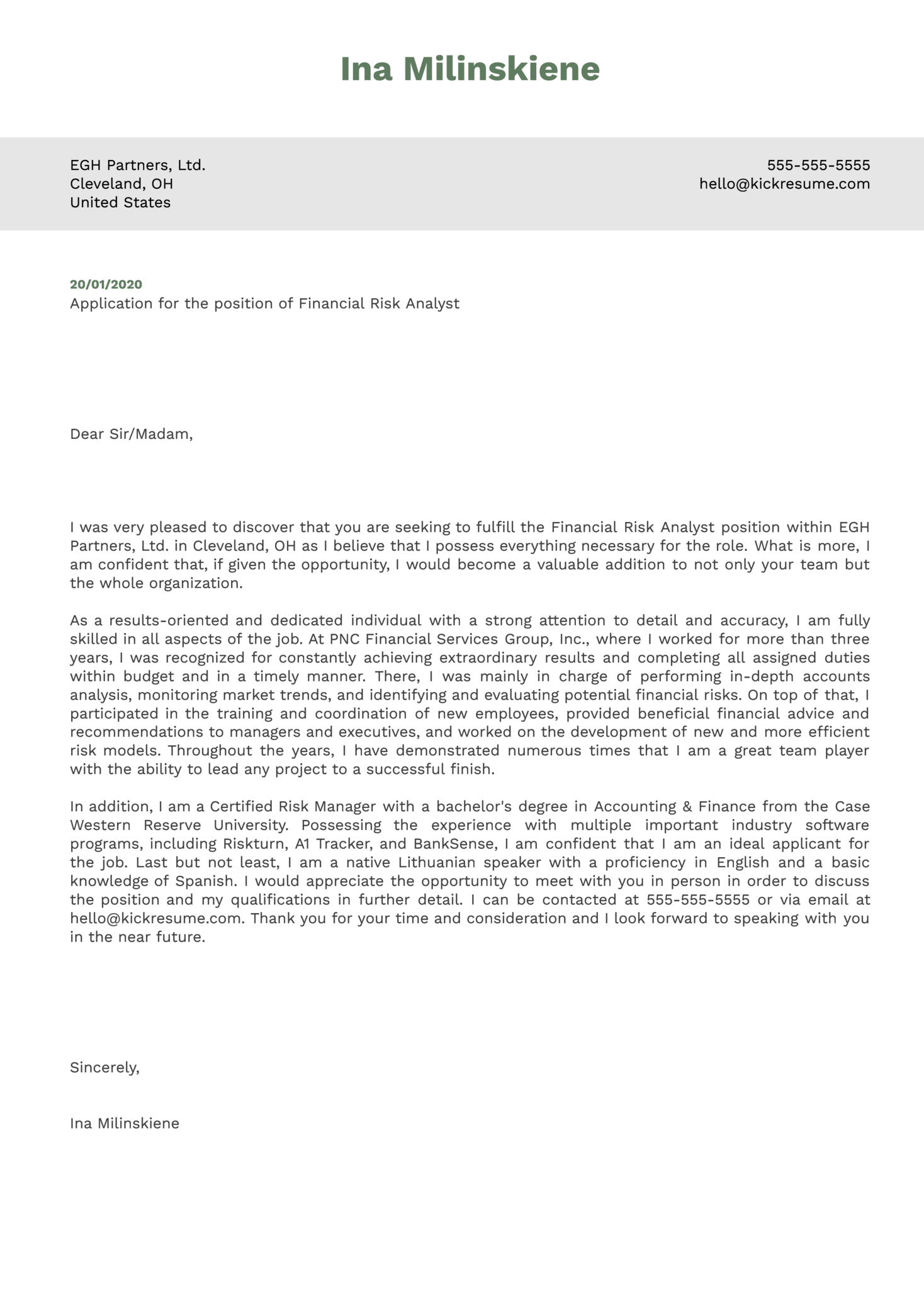Financial Risk Analyst Cover Letter Example