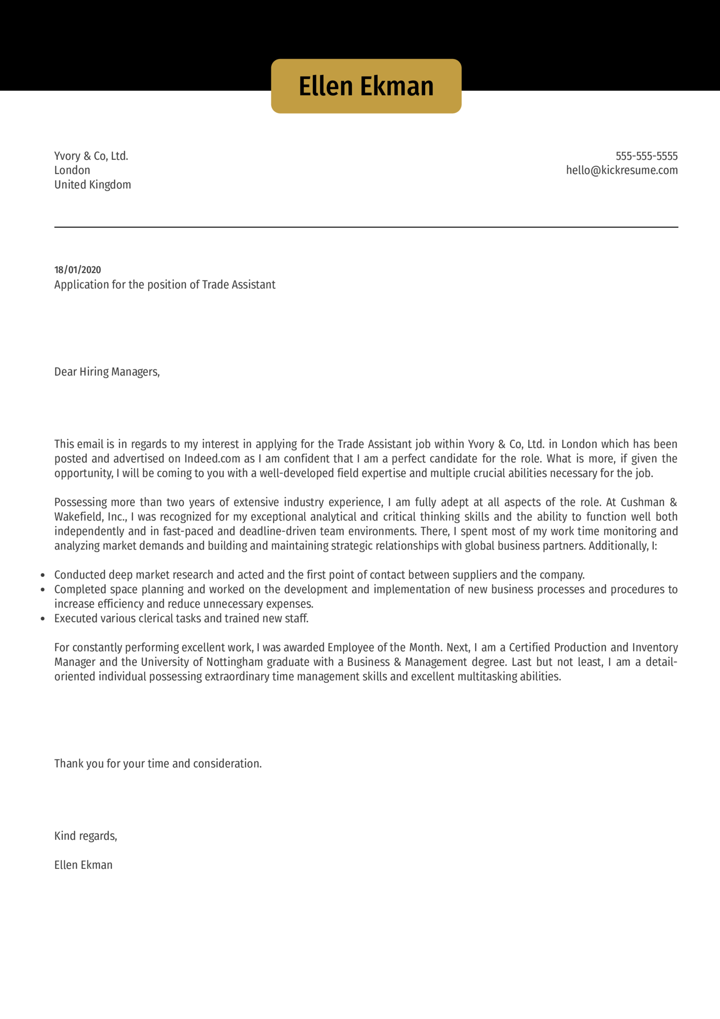 Trade Assistant Cover Letter Sample