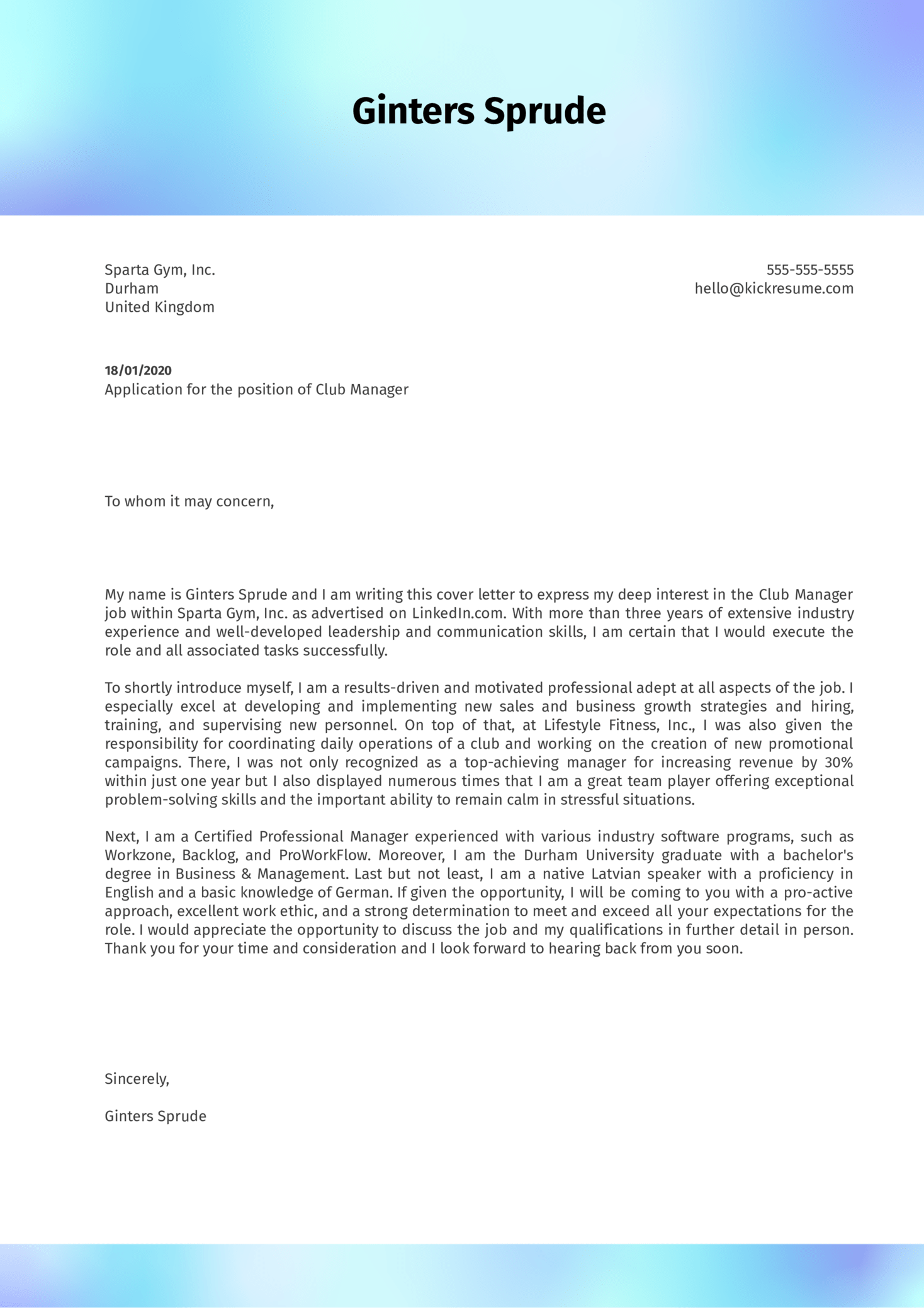 Club Manager Cover Letter Example