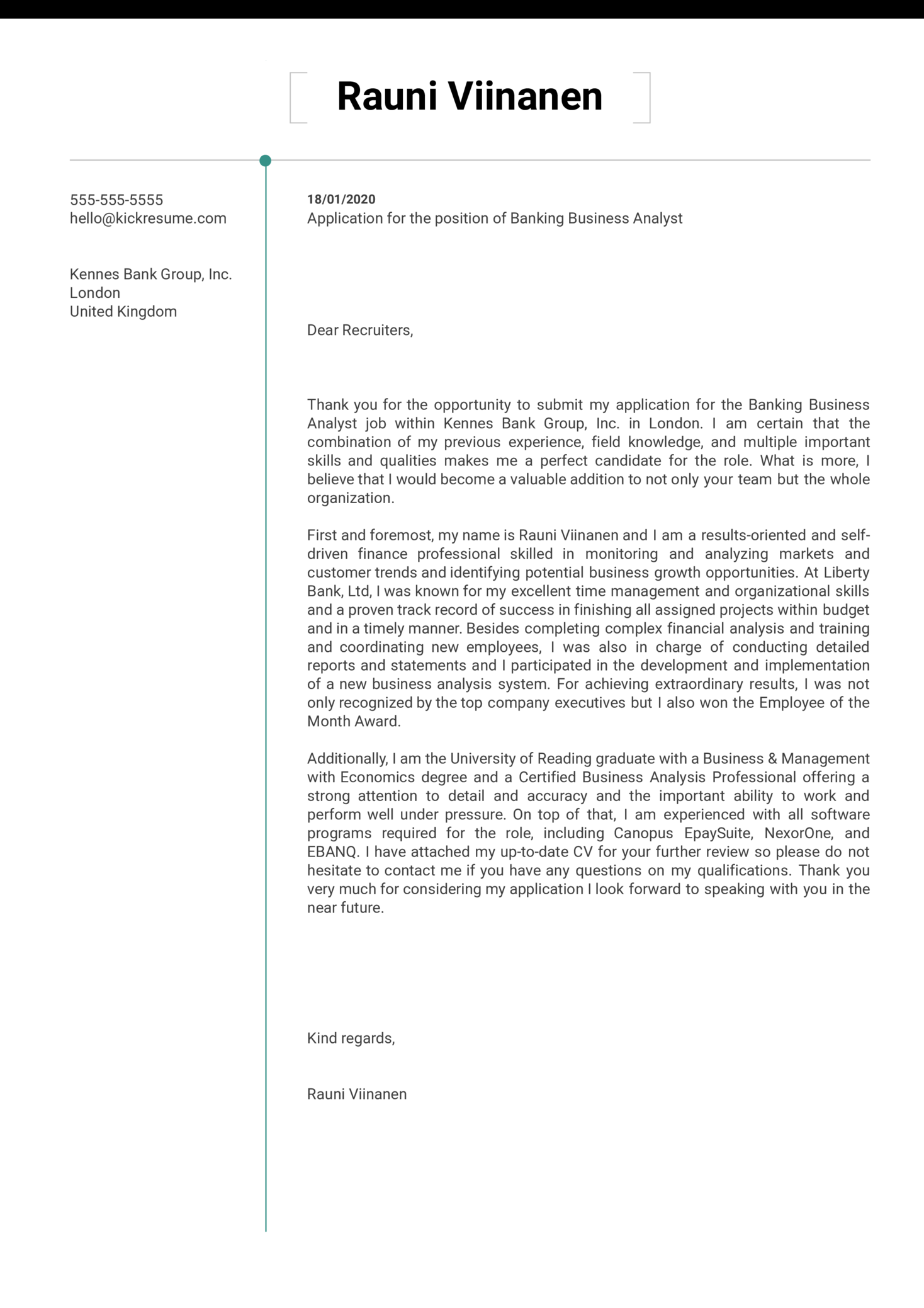 Banking Business Analyst Cover Letter Sample