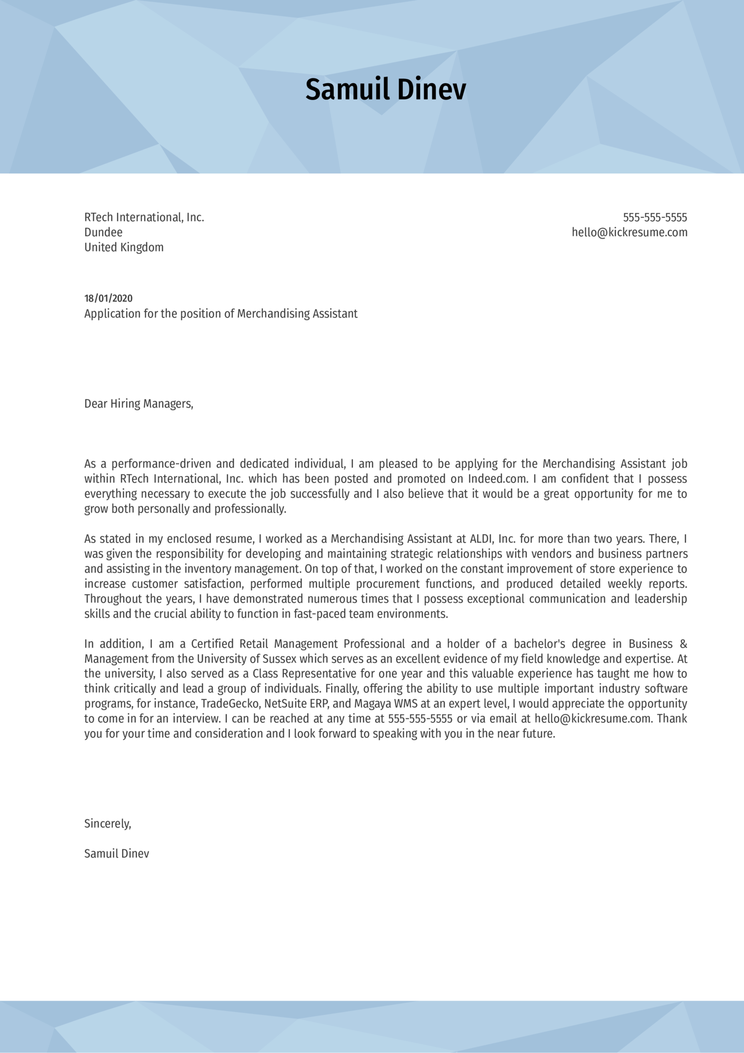 Merchandising Assistant Cover Letter Example