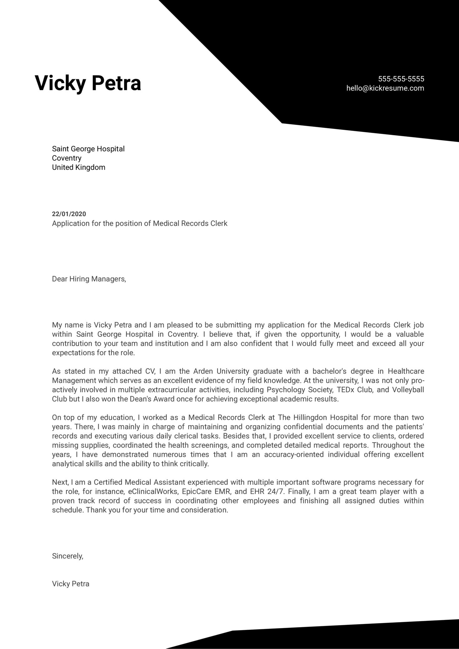 Medical Records Clerk Cover Letter Sample