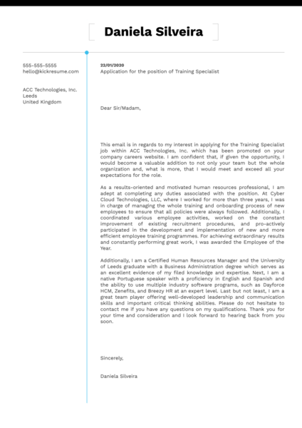 Training Specialist Cover Letter Sample