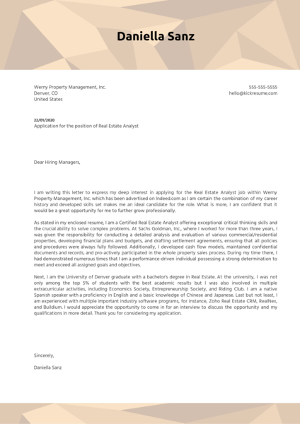 Real Estate Analyst Cover Letter Sample