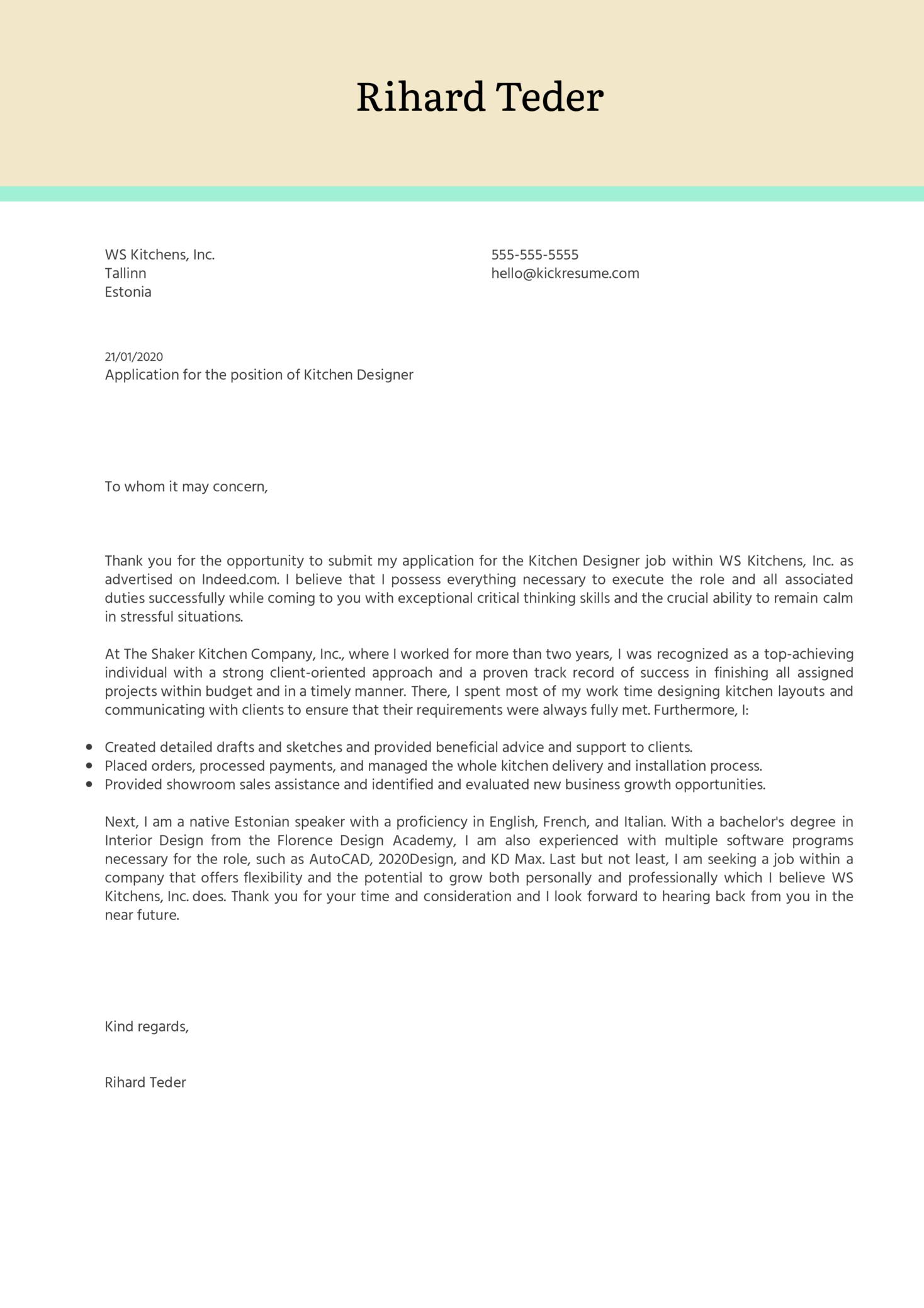 Kitchen Designer Cover Letter Example