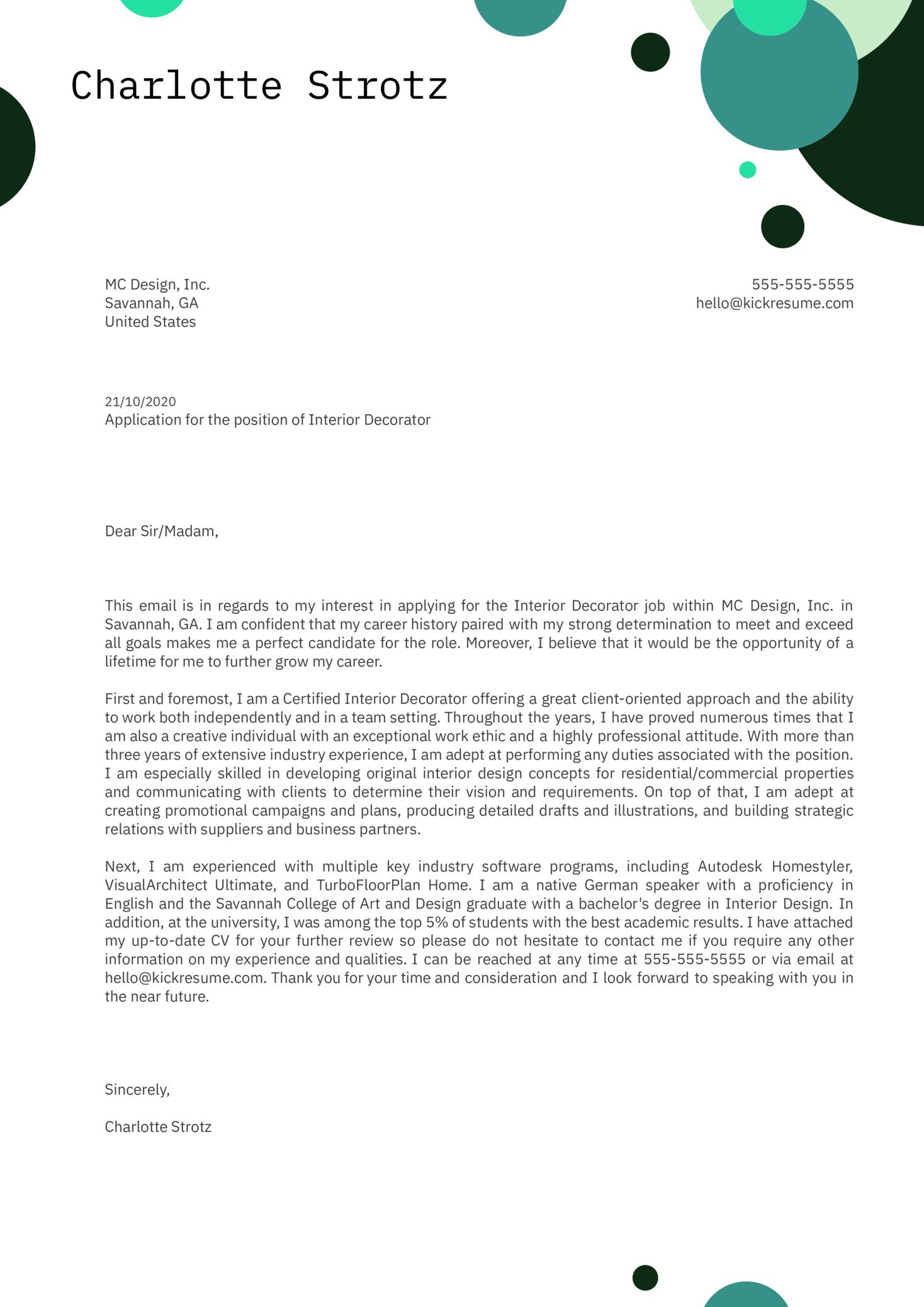 Interior Decorator Cover Letter Sample
