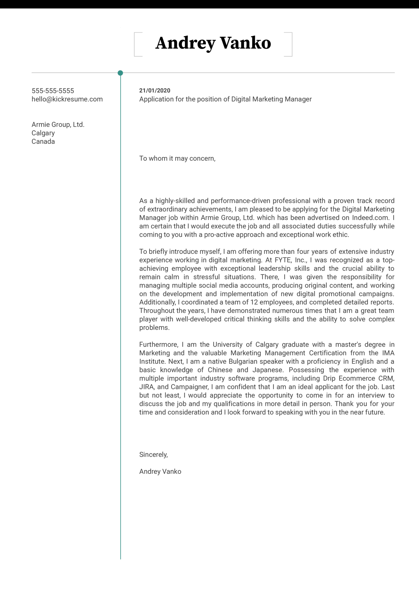 Digital Marketing Manager Cover Letter Example