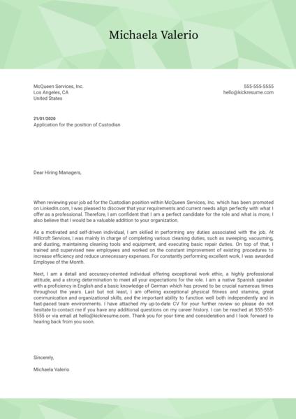 Custodian Cover Letter Template