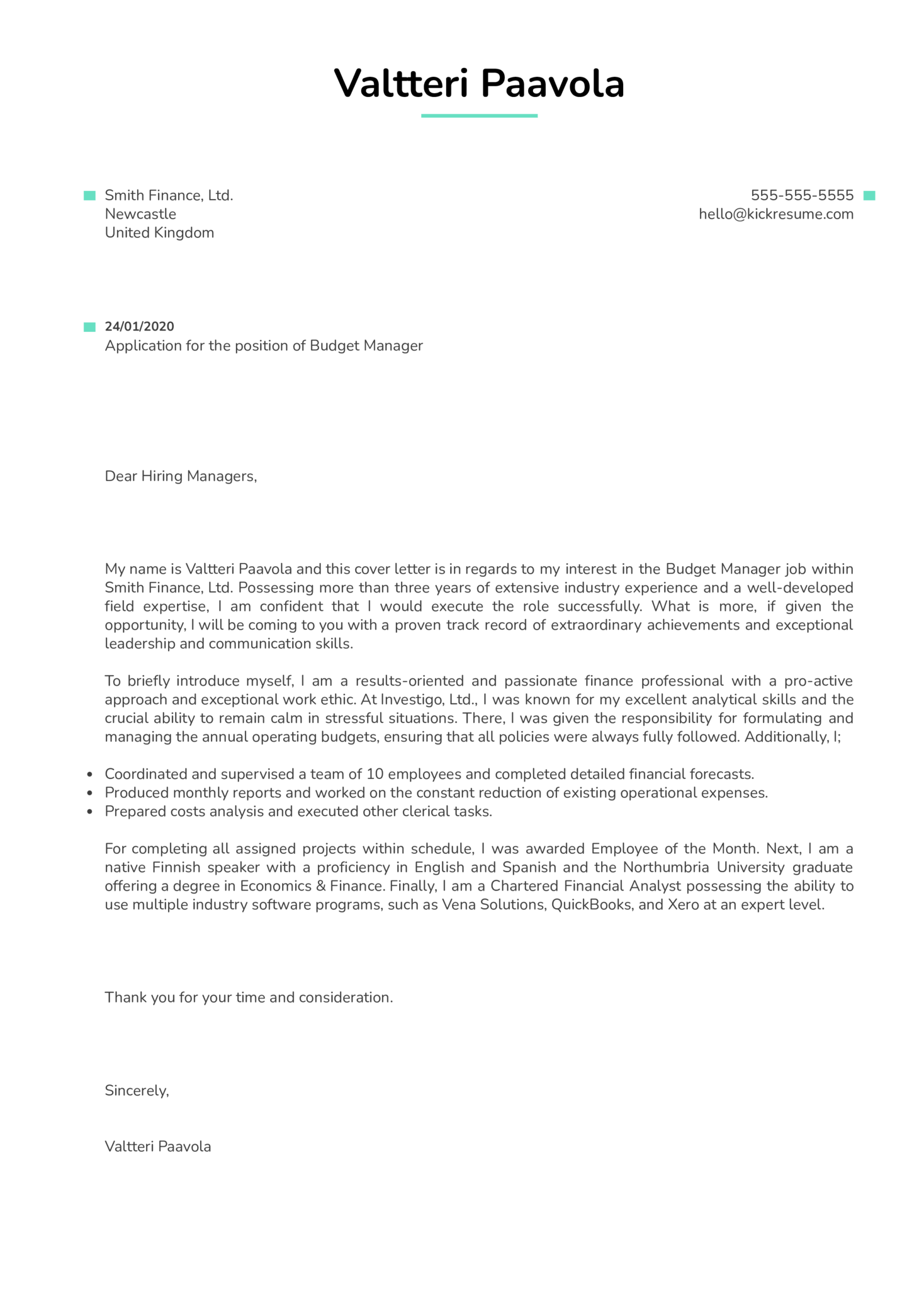 Budget Manager Cover Letter Example