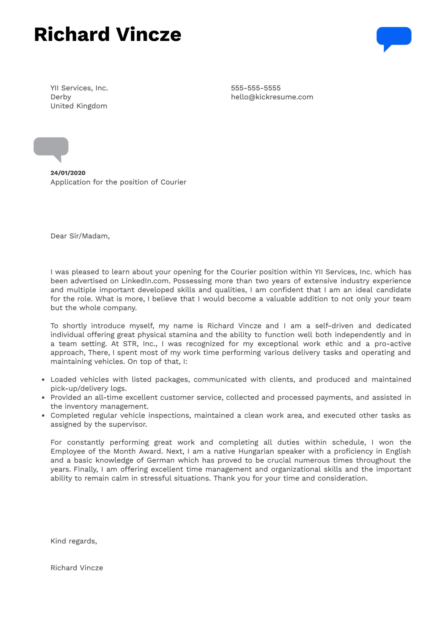 Courier Cover Letter Sample   Kickresume