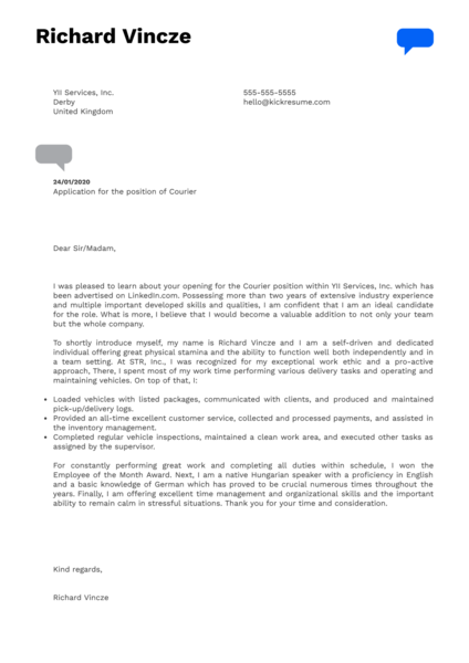 Courier Cover Letter Sample