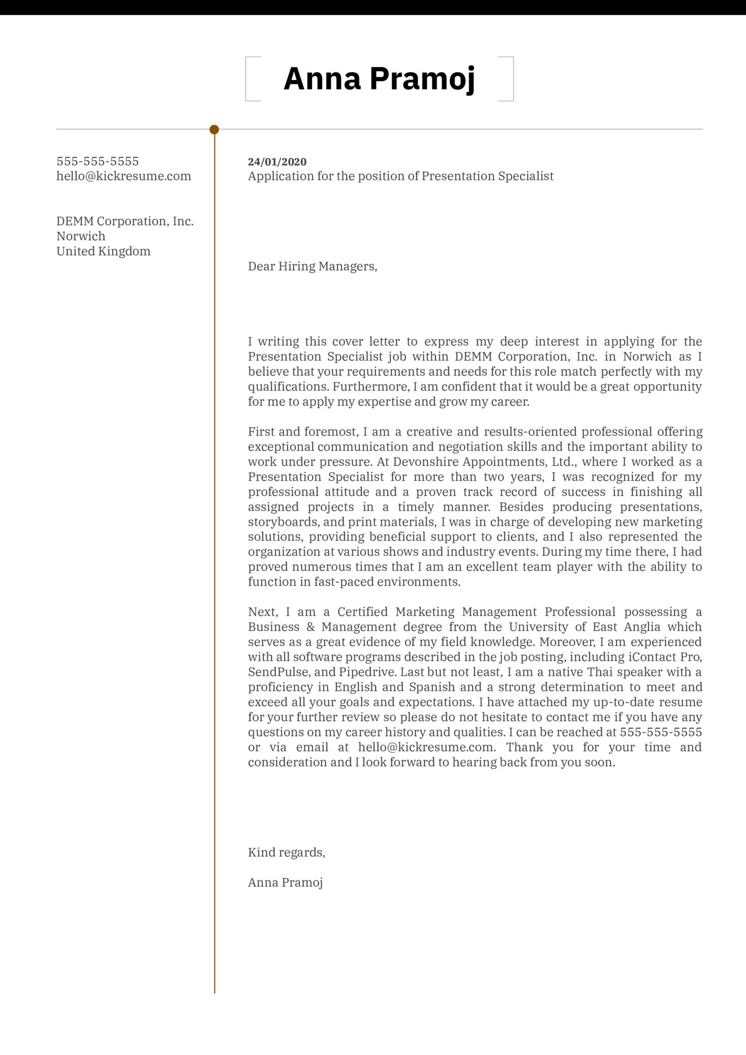 Presentation Specialist Cover Letter Sample