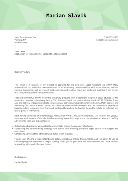 Corporate Legal Assistant Cover Letter Sample