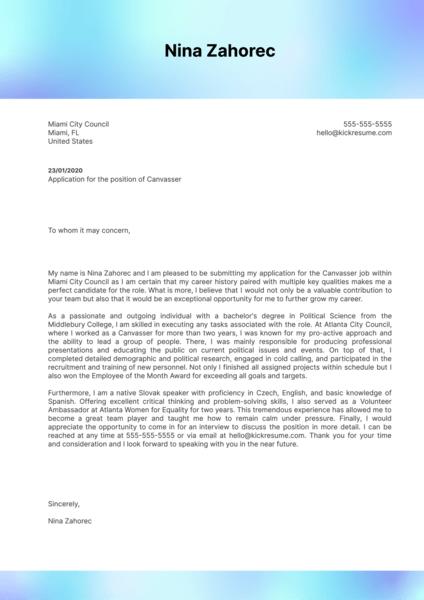 Canvasser Cover Letter Sample
