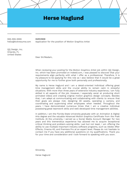 Motion Graphics Artist Cover Letter Example