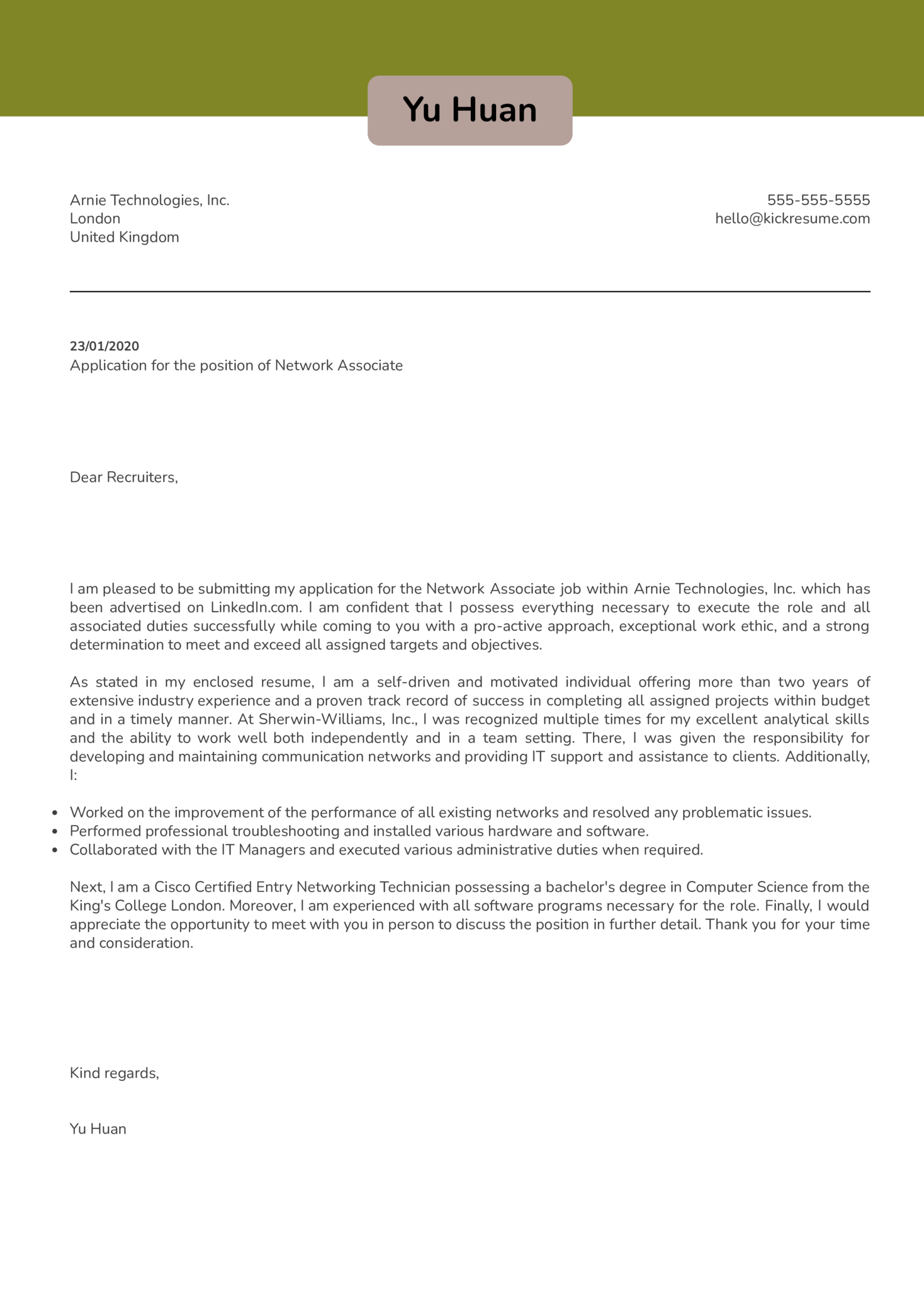 Network Associate Cover Letter Example