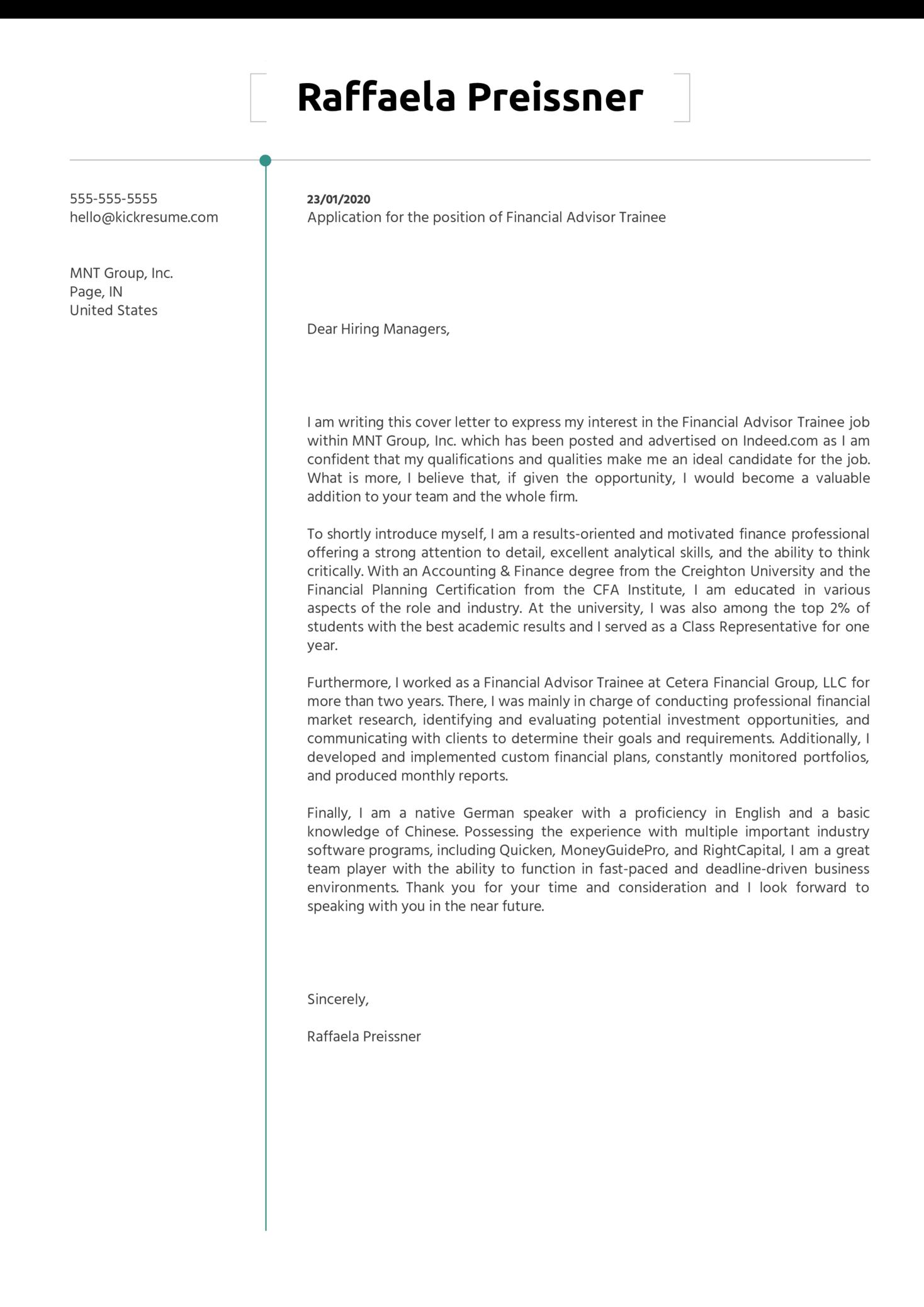 Financial Advisor Trainee Cover Letter Sample
