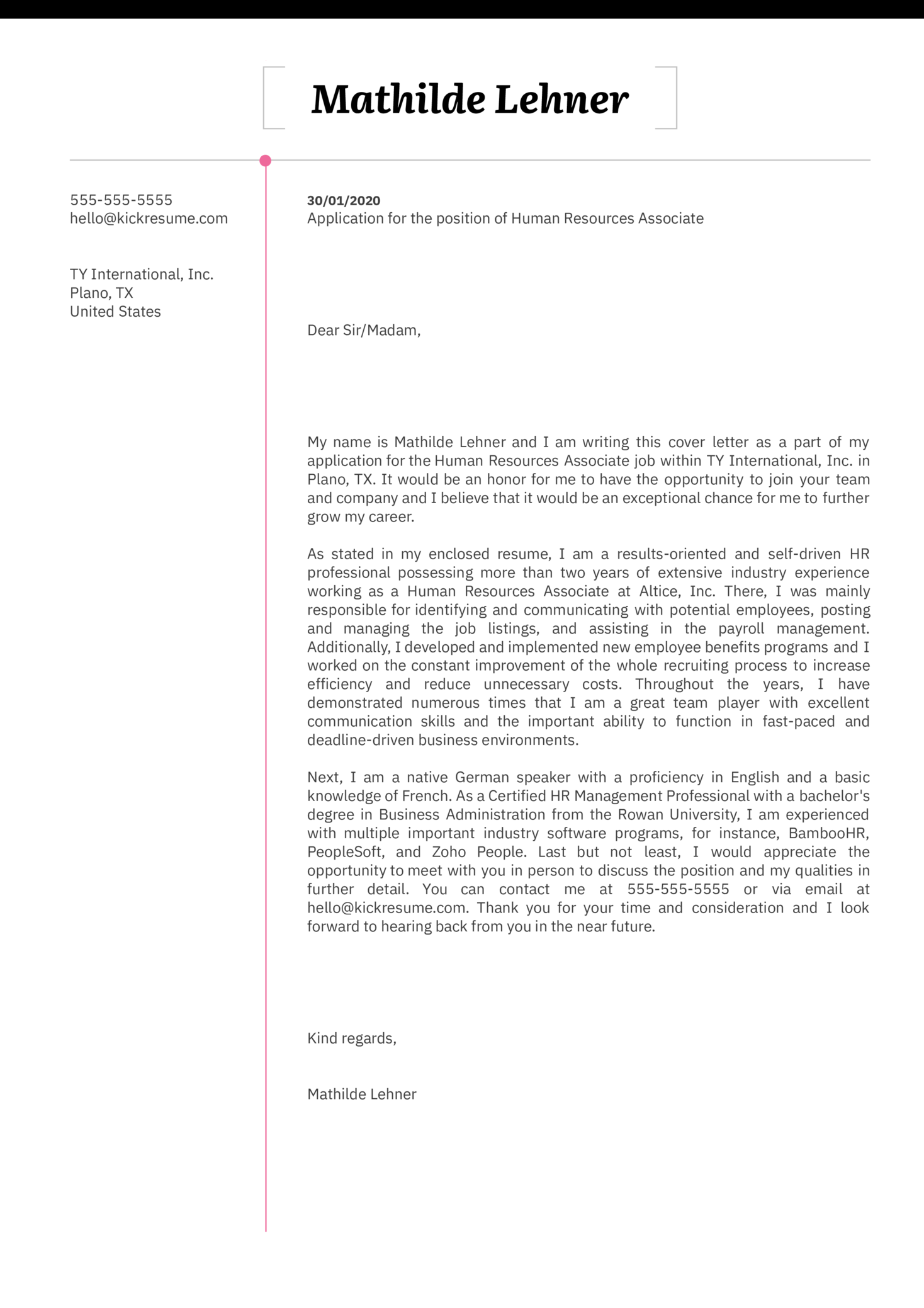 Human Resources Associate Cover Letter Sample