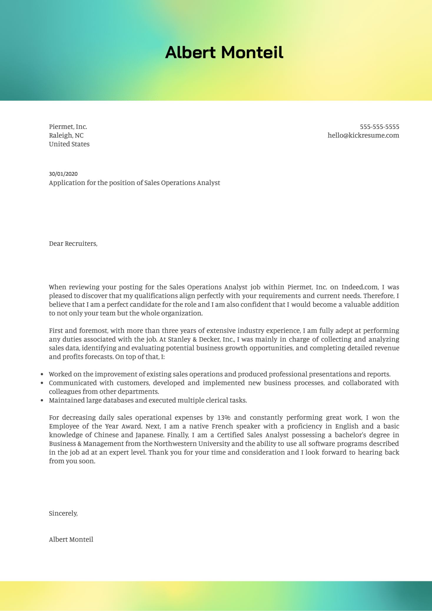 Sales Operations Analyst Cover Letter Sample