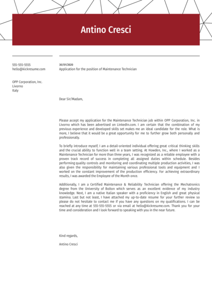 Maintenance Technician Cover Letter Example