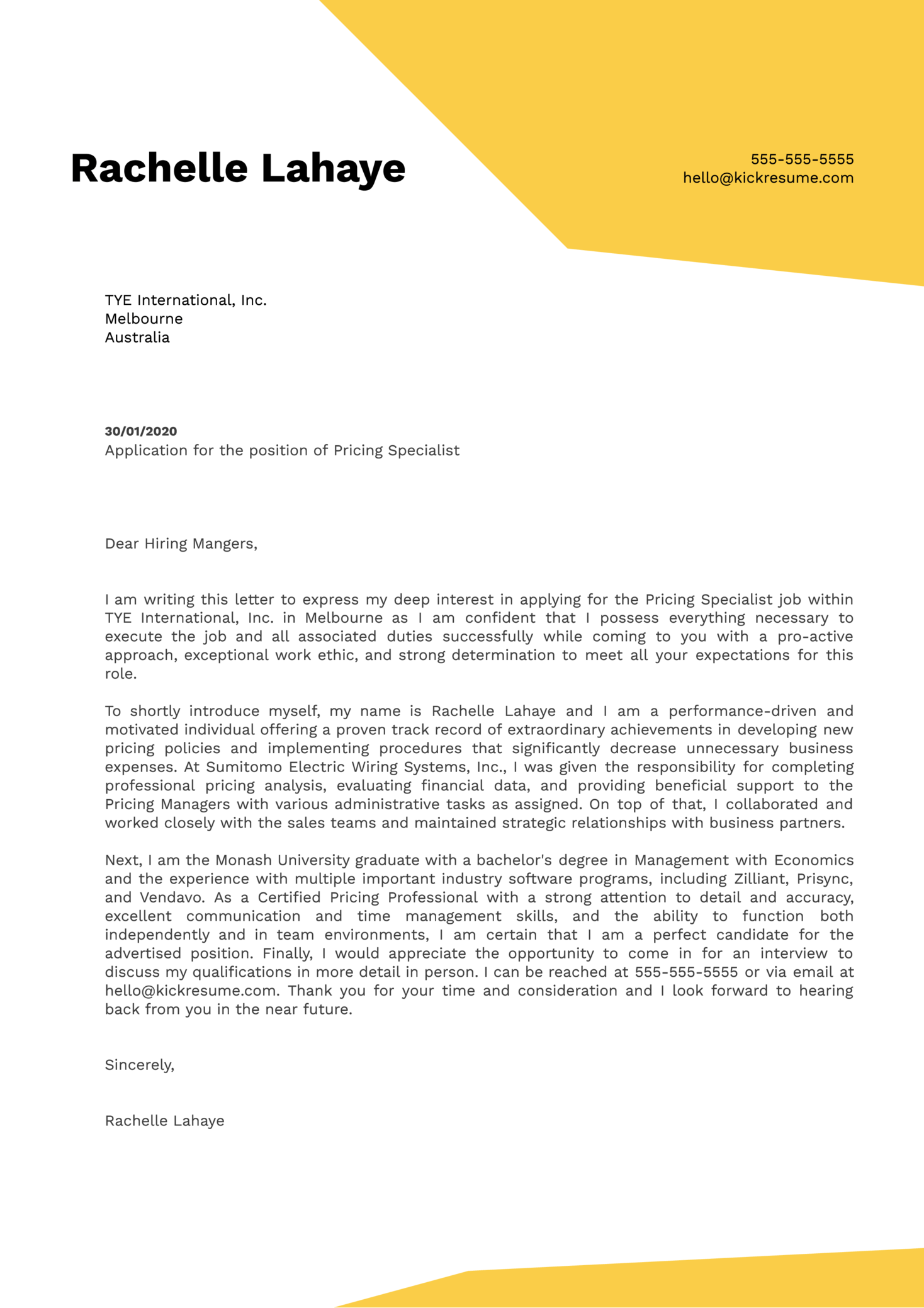 Pricing Specialist Cover Letter Example