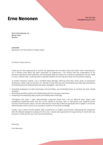 Sales Coach Cover Letter Sample