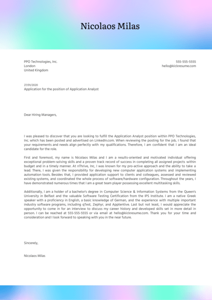 Application Analyst Cover Letter Example