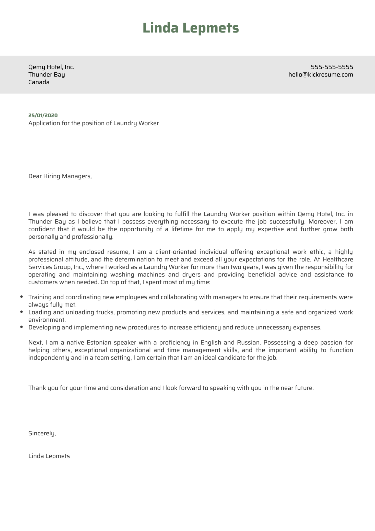 Laundry Worker Cover Letter Example