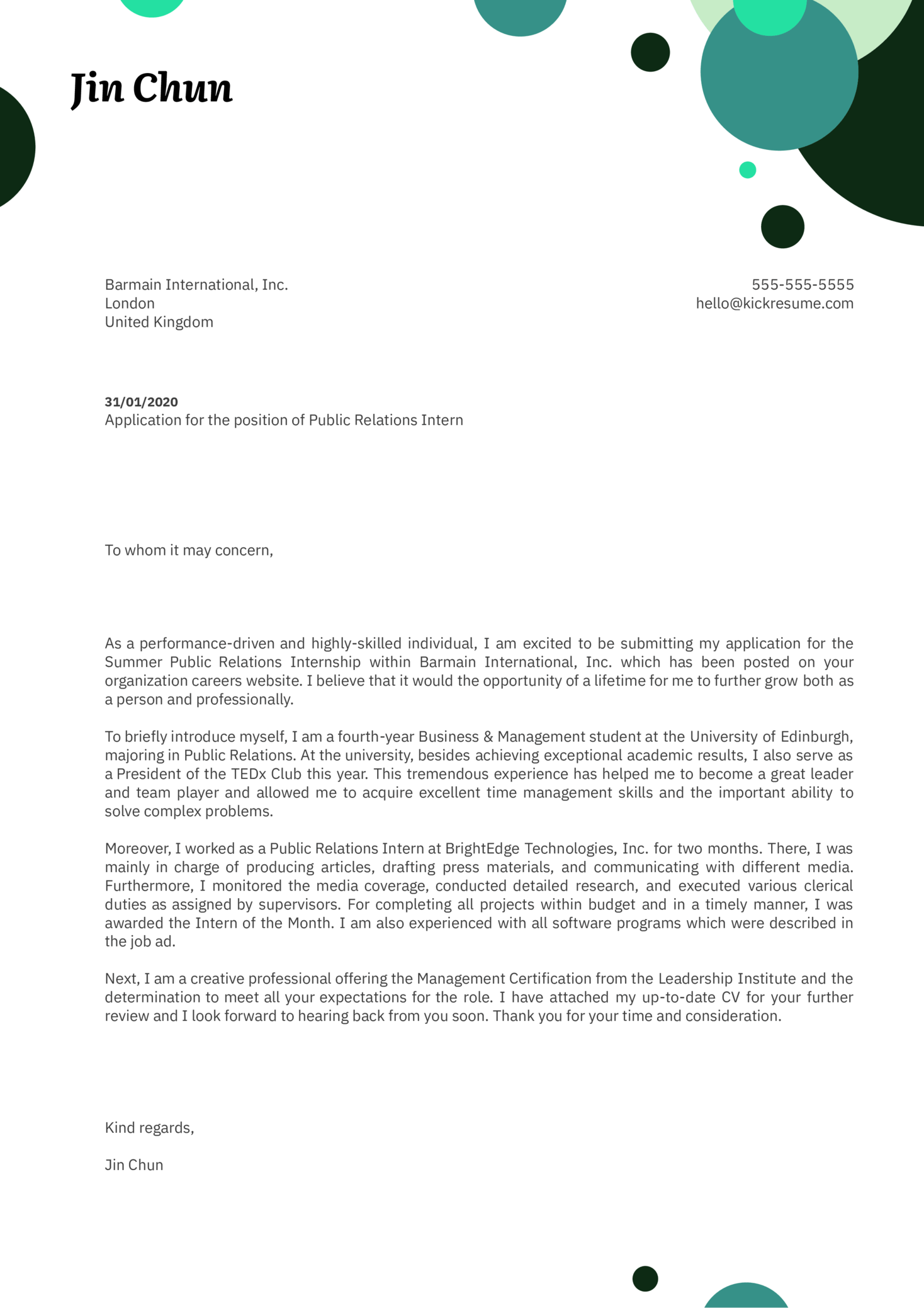 Public Relations Internship Cover Letter Example