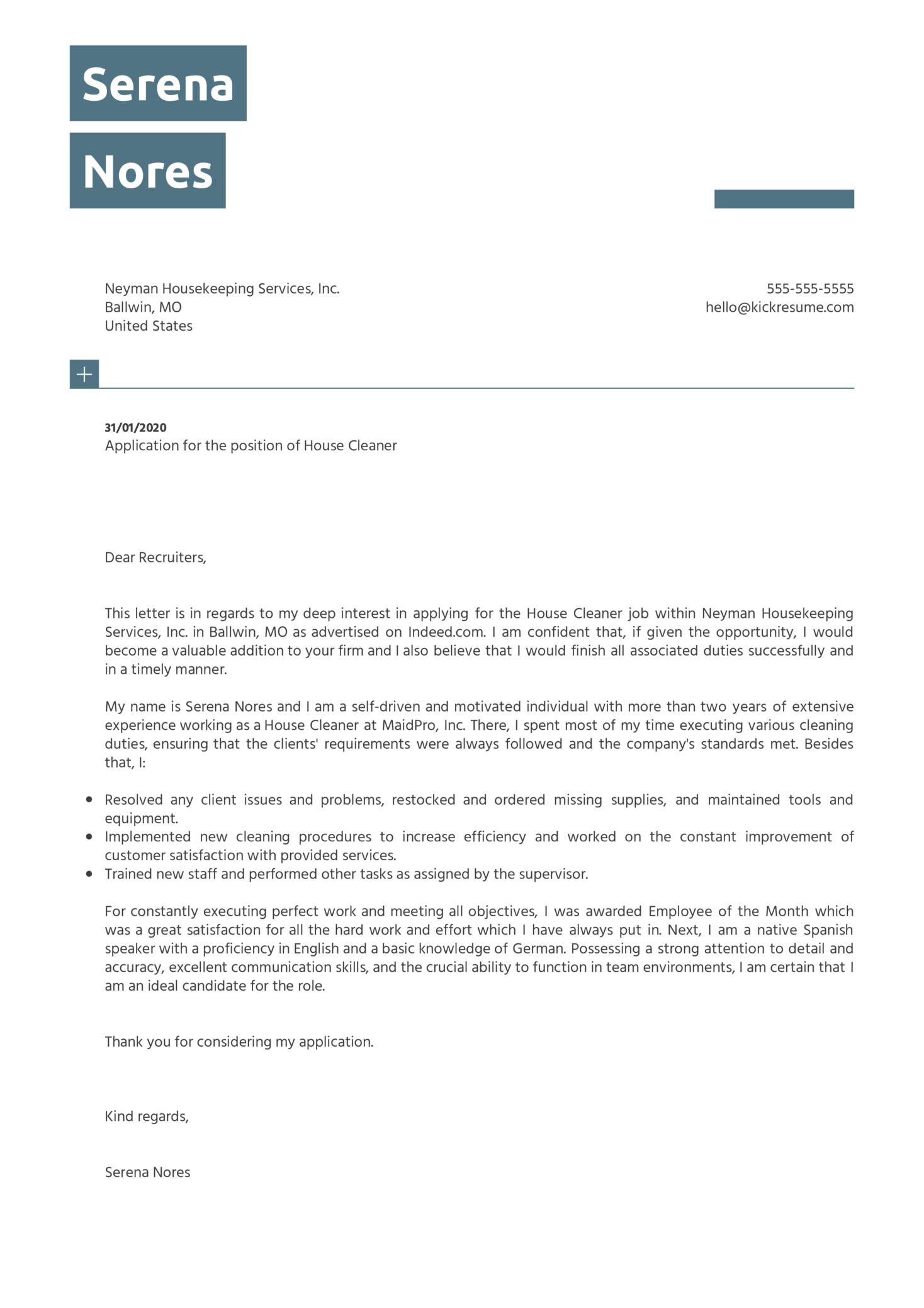House Cleaner Cover Letter Sample