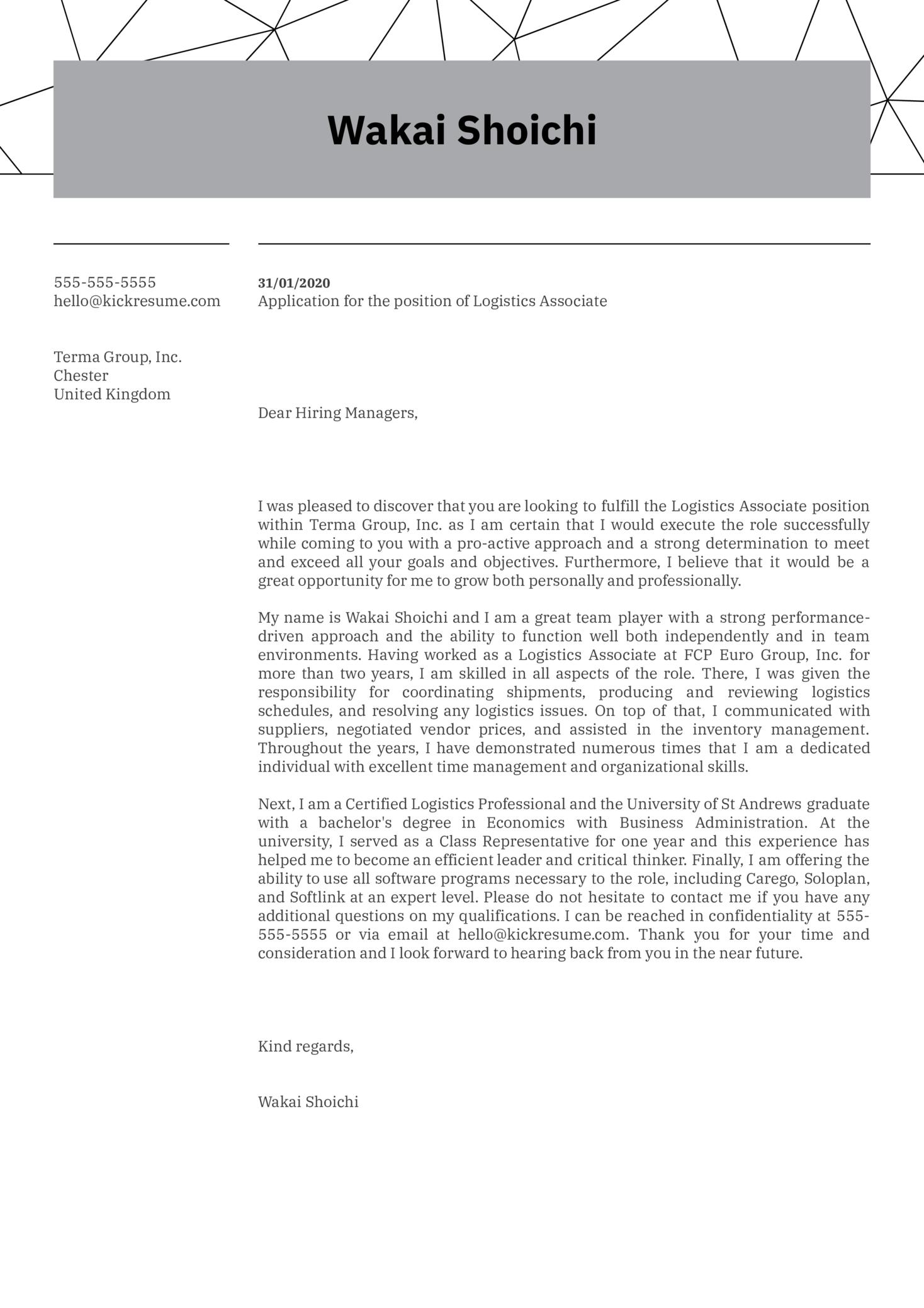 Logistics Job Cover Letter Example