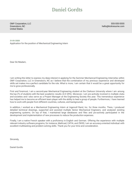 Mechanical Engineering Internship Cover Letter Example
