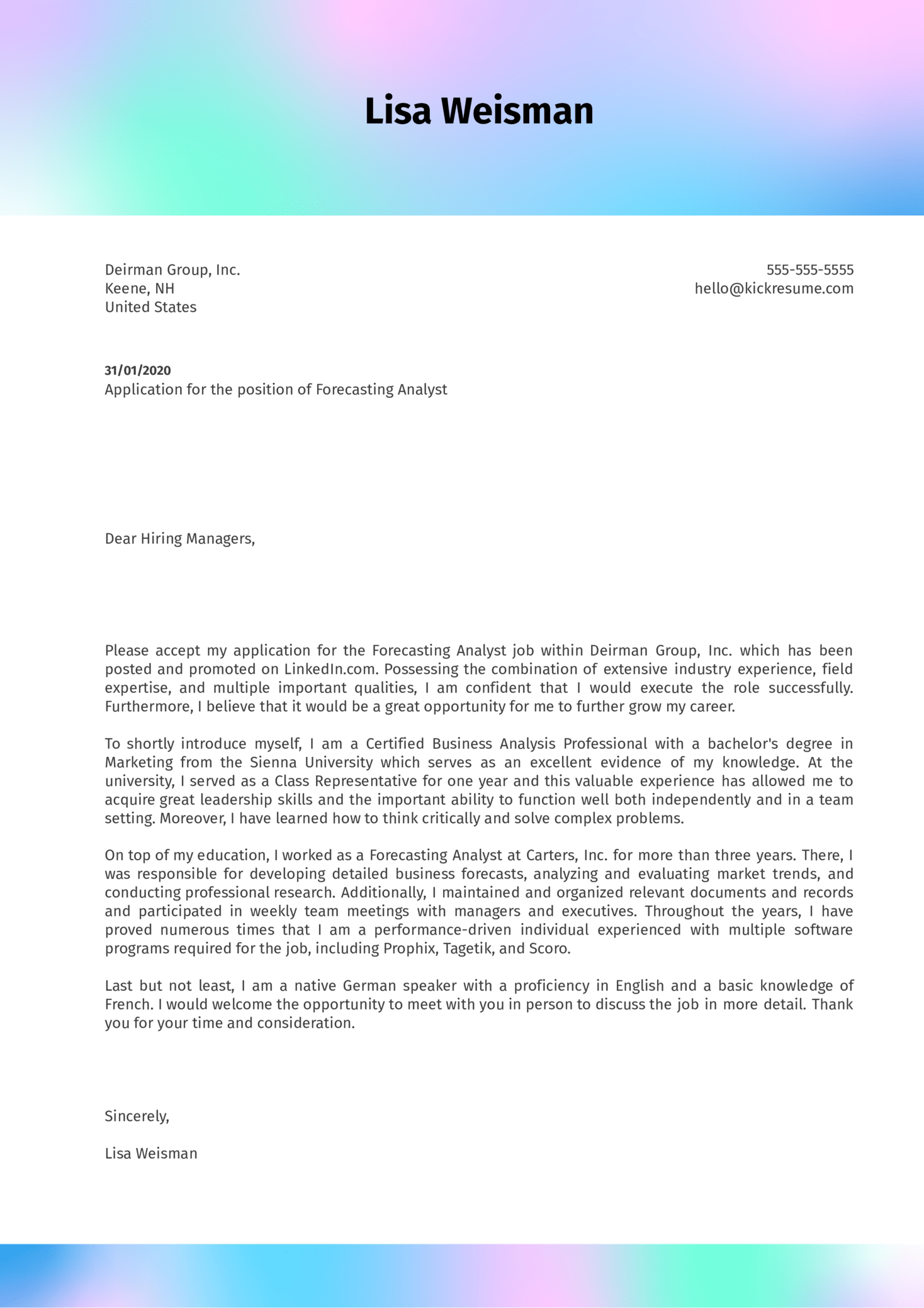 Forecasting Analyst Cover Letter Sample