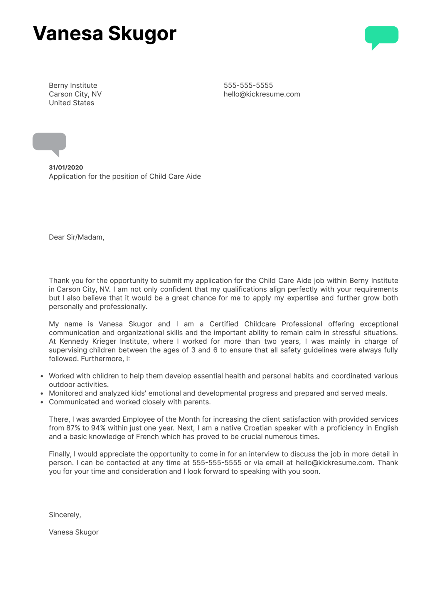 Child Care Aide Cover Letter Example