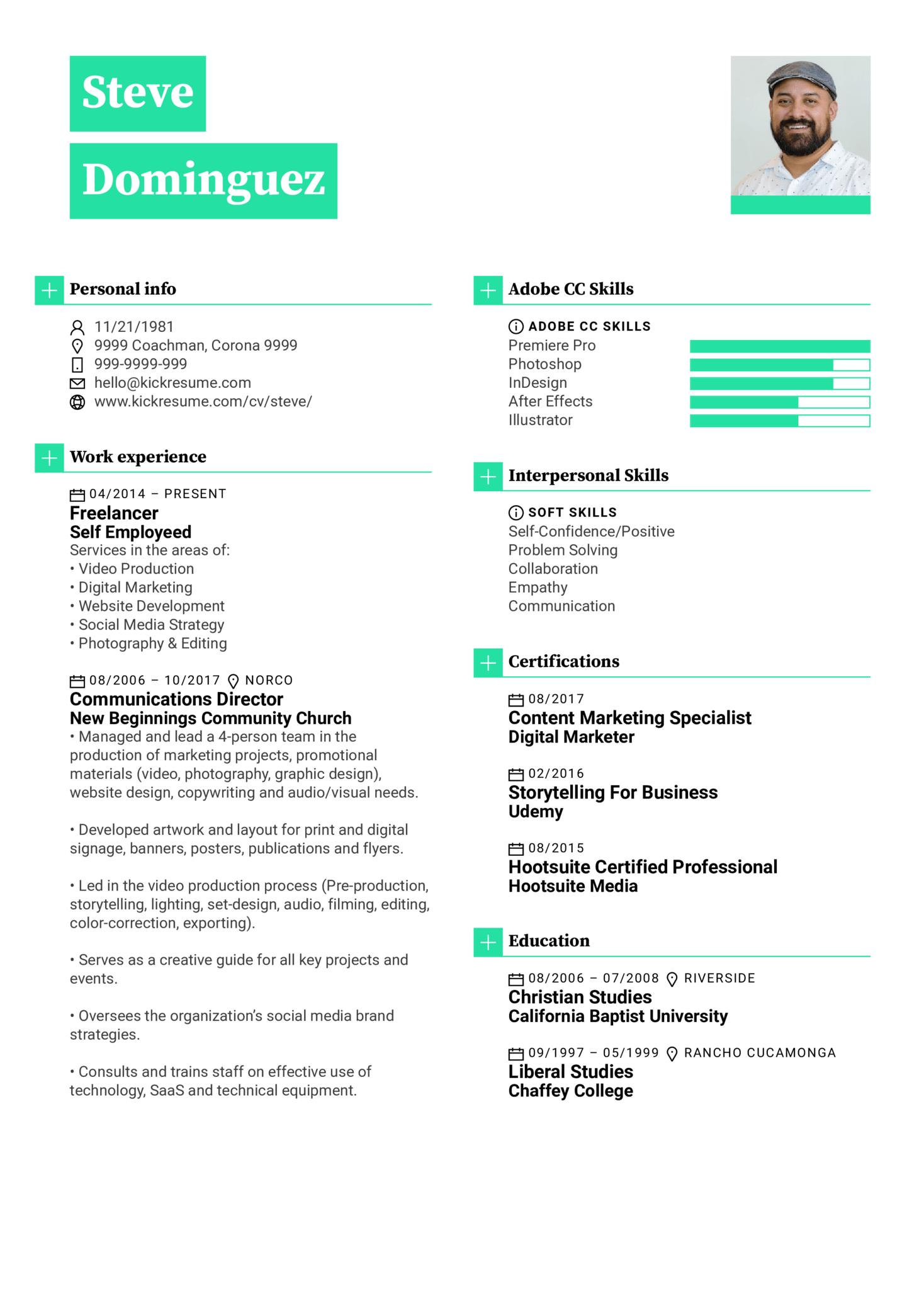Graphic Designer Resume Sample (Teil 1)