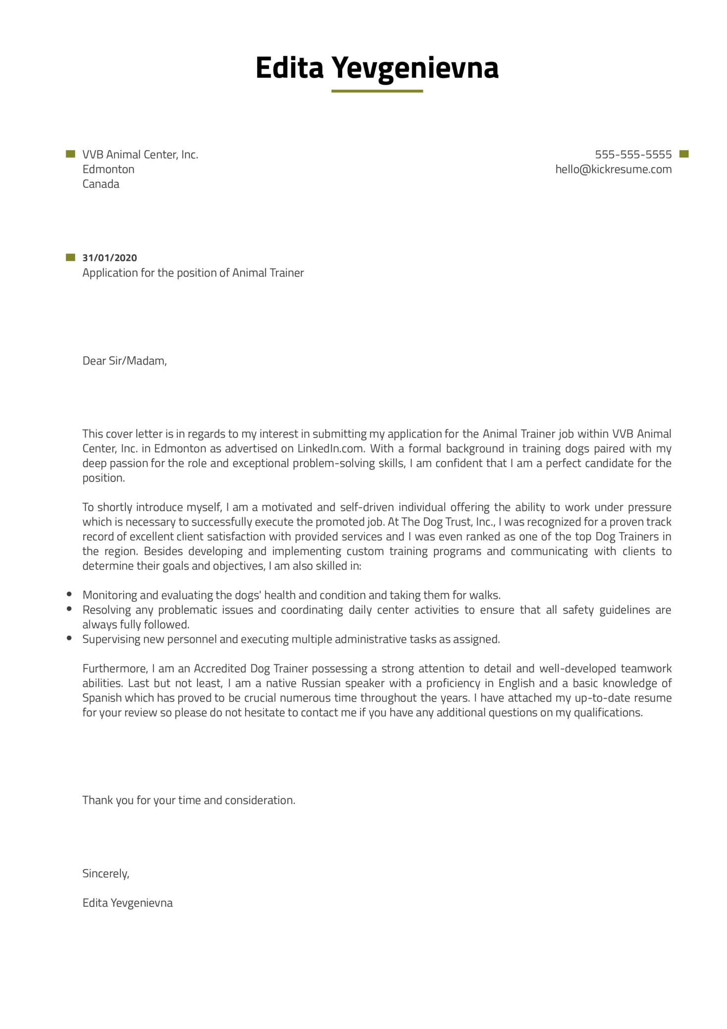 Animal Trainer Cover Letter Sample