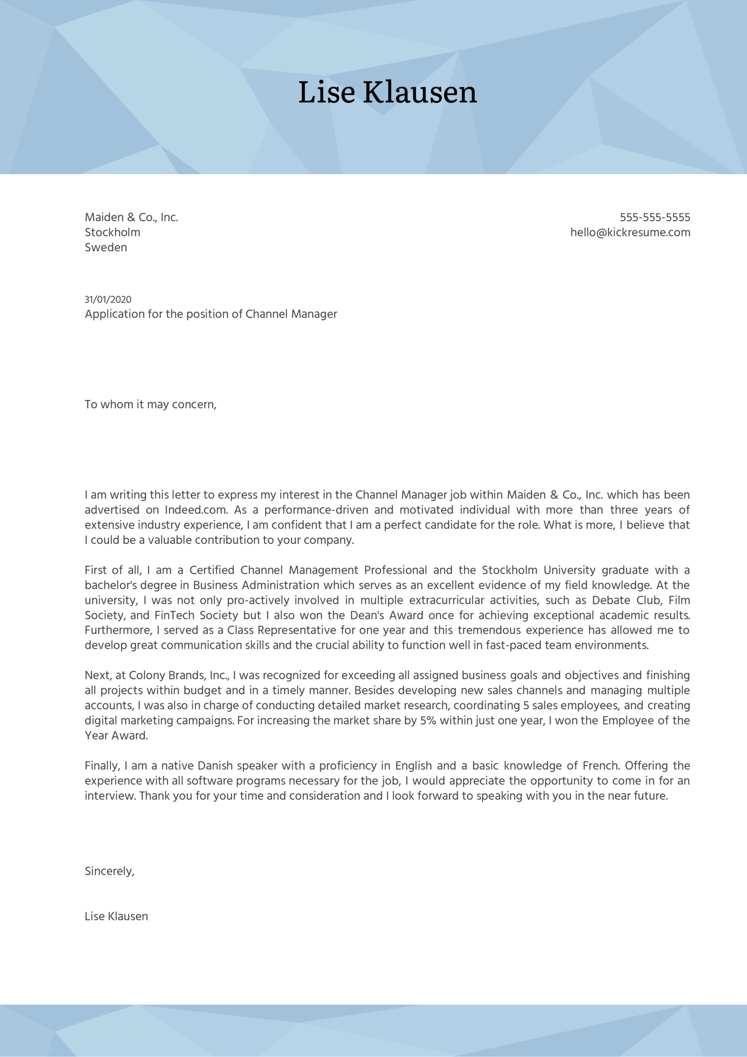 Channel Manager Cover Letter Example