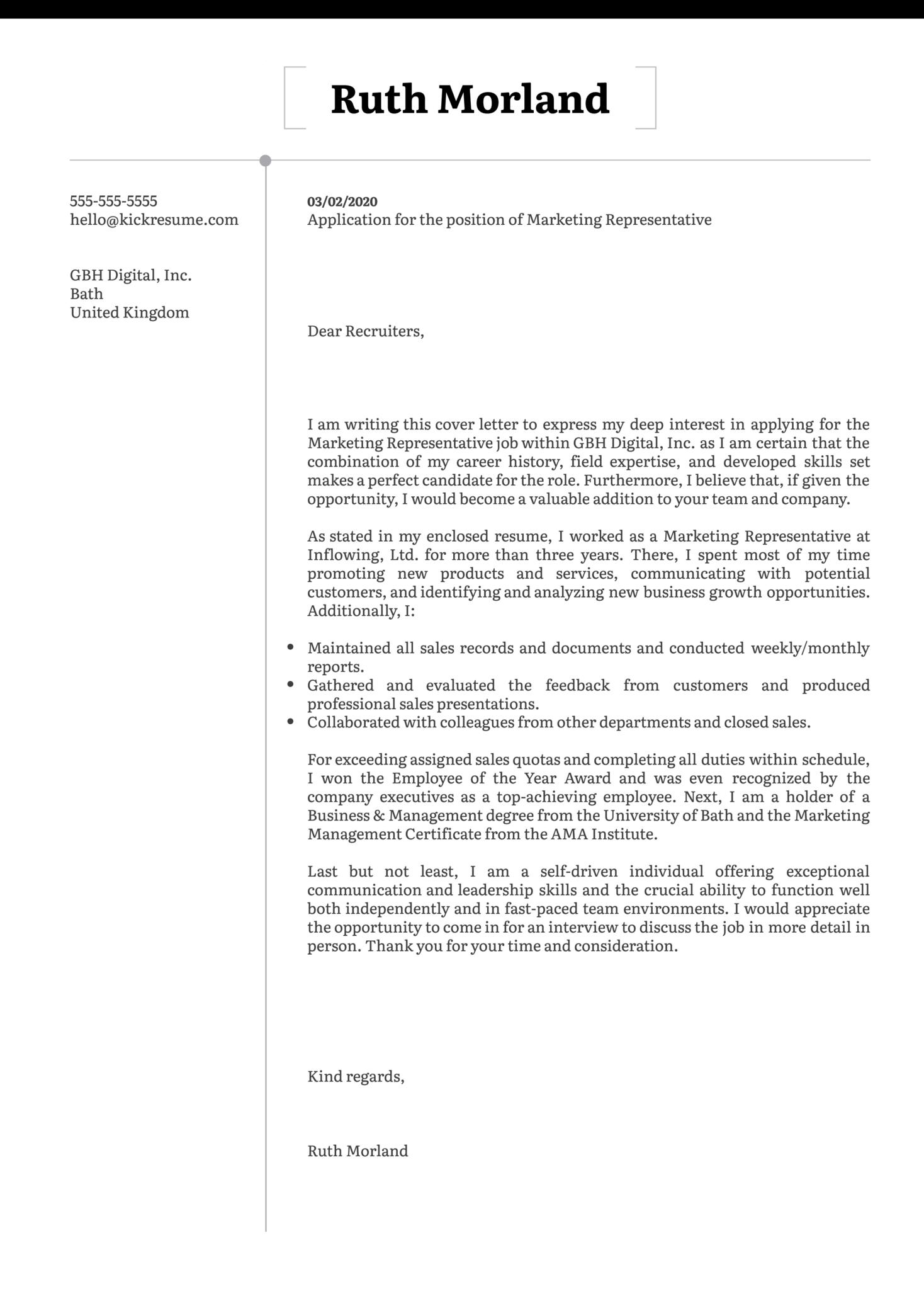 Marketing Representative Cover Letter Template