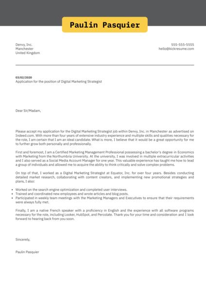Digital Marketing Strategist Cover Letter Sample