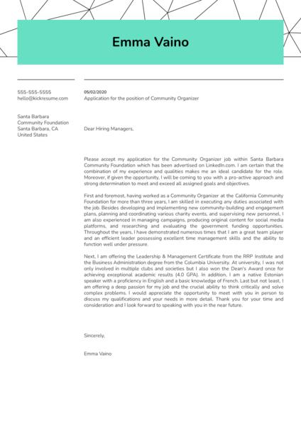 Community Organizer Cover Letter Sample