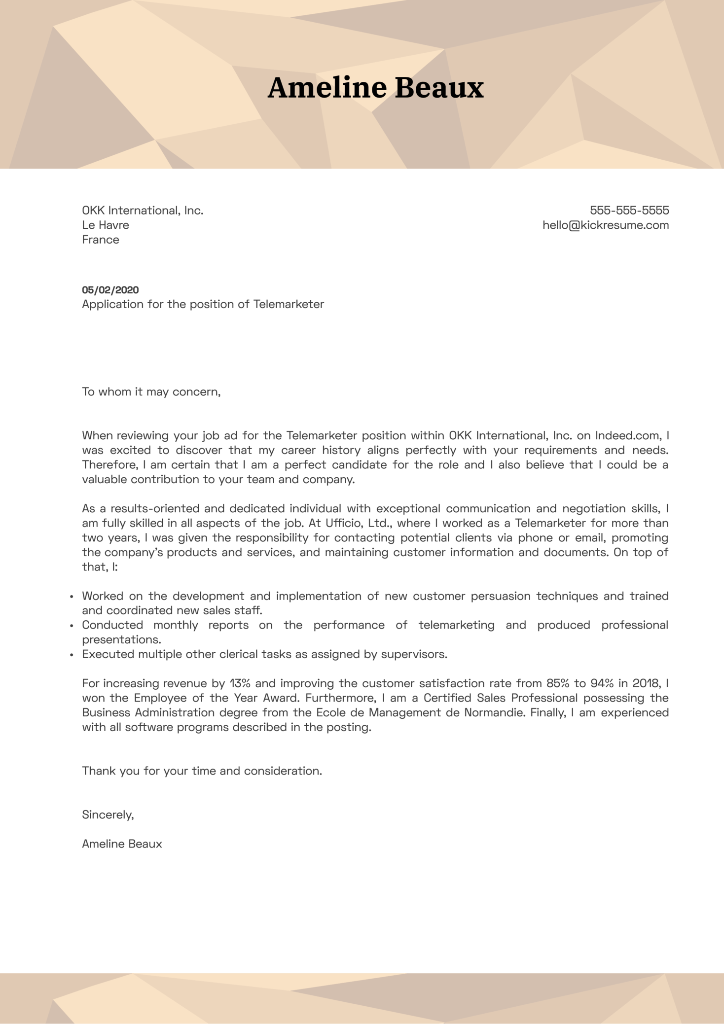 Telemarketer Cover Letter Example