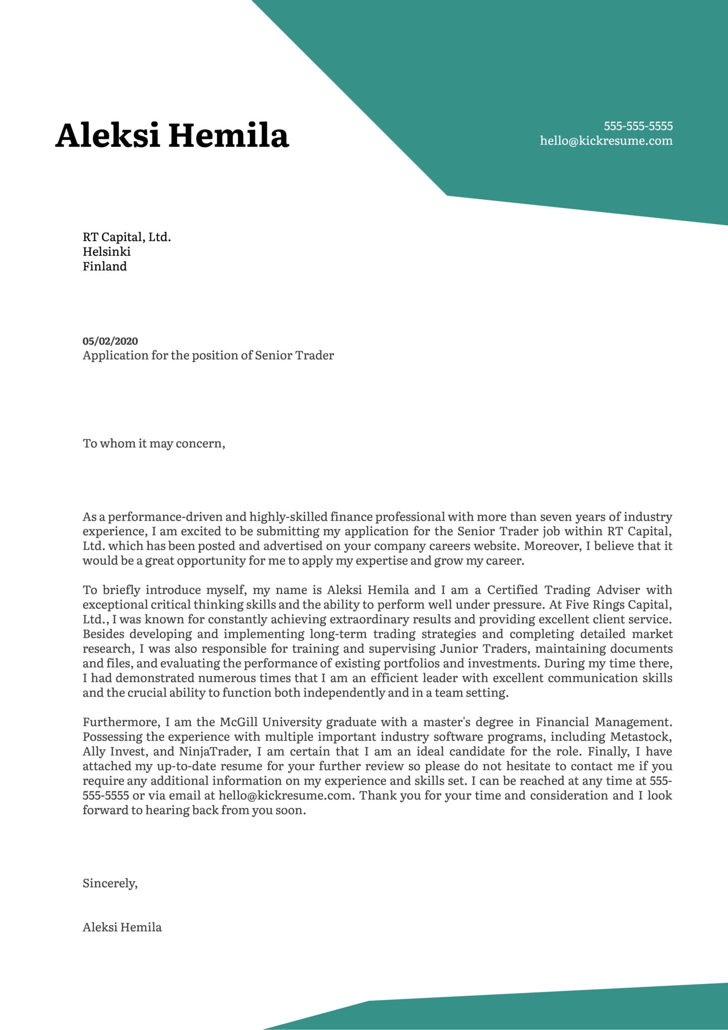 Senior Trader Cover Letter Example