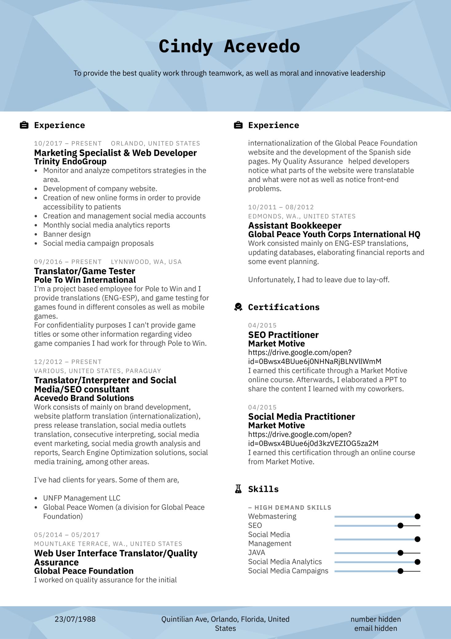 Marketing Coordinator Resume Template (parte 1)