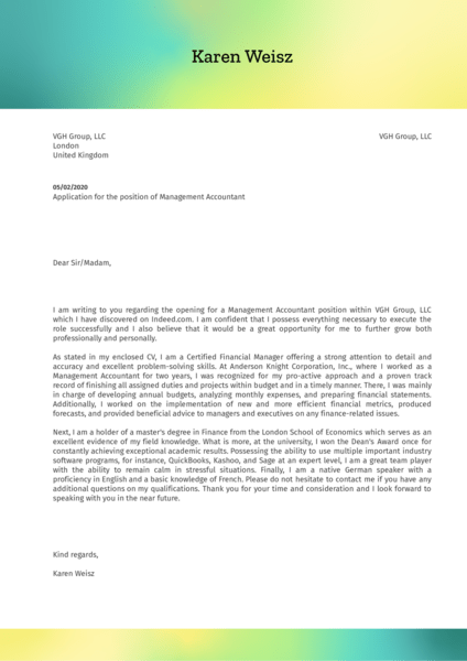 Management Accountant Cover Letter Sample