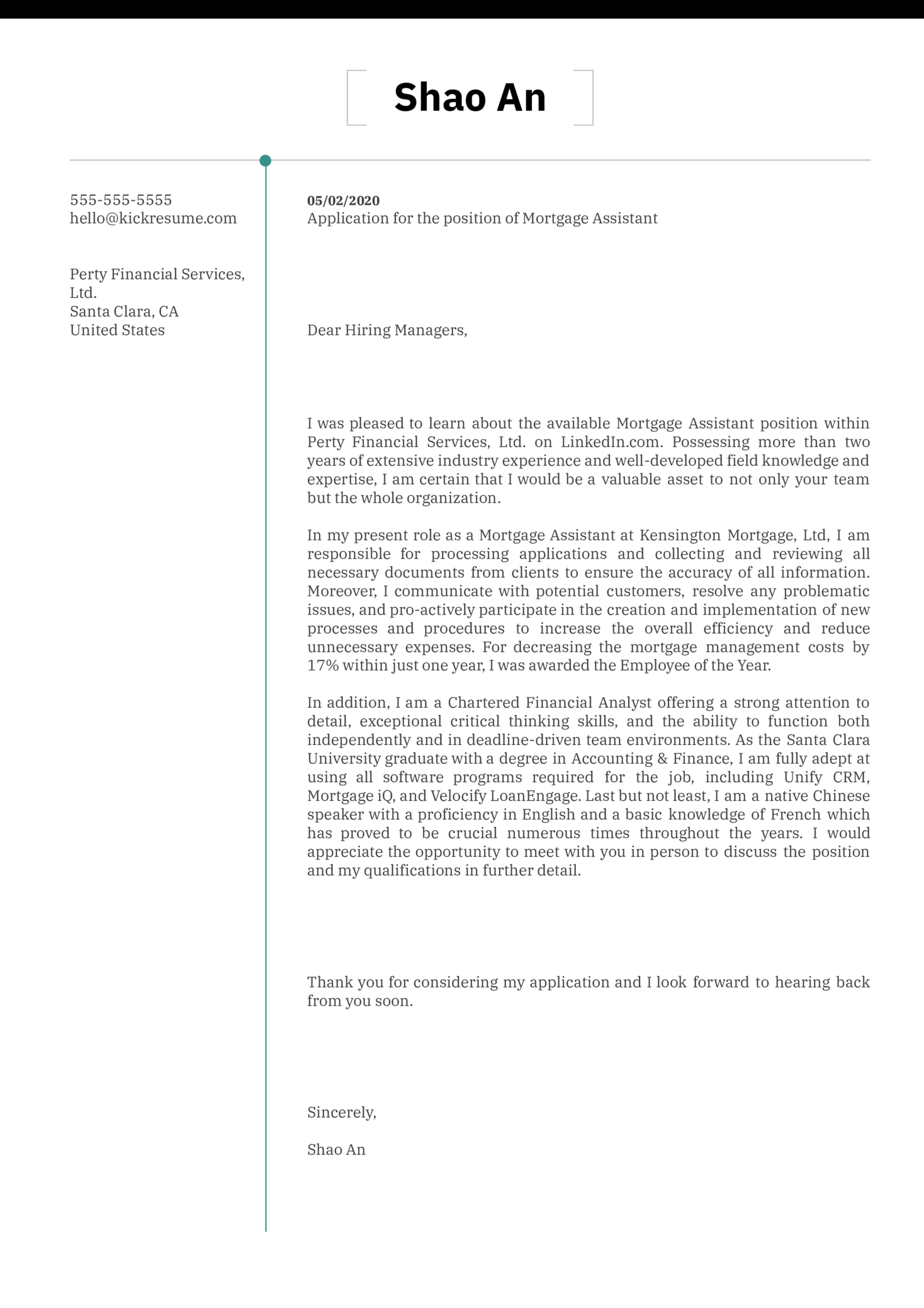 Mortgage Assistant Cover Letter Sample