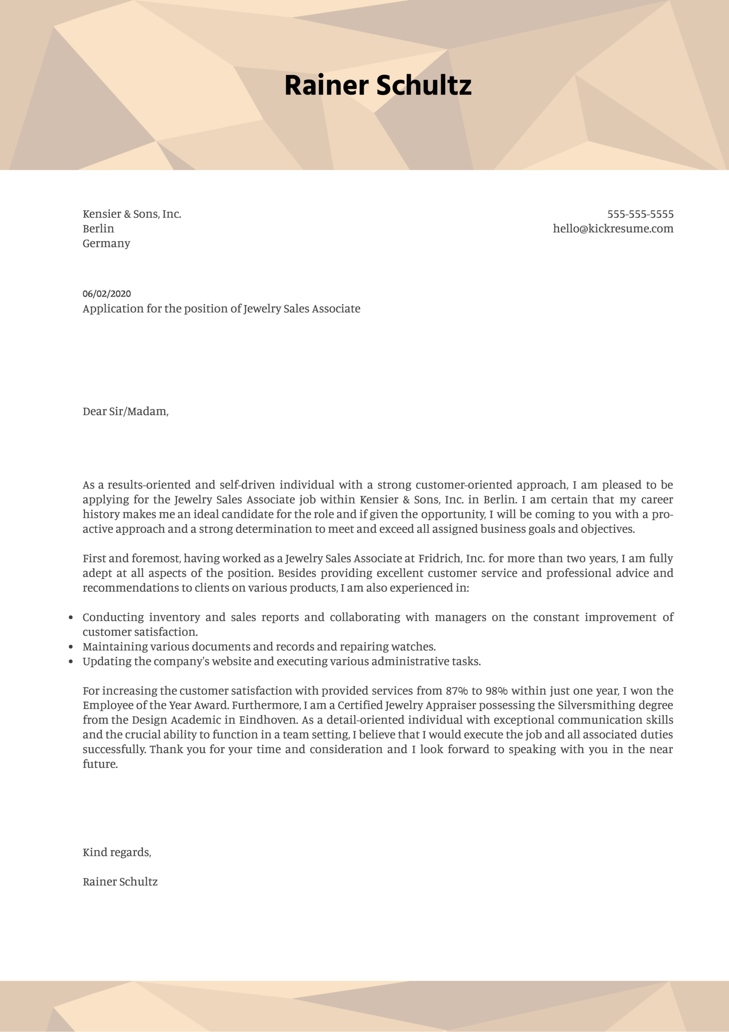 Jewelry Sales Associate Cover Letter Sample