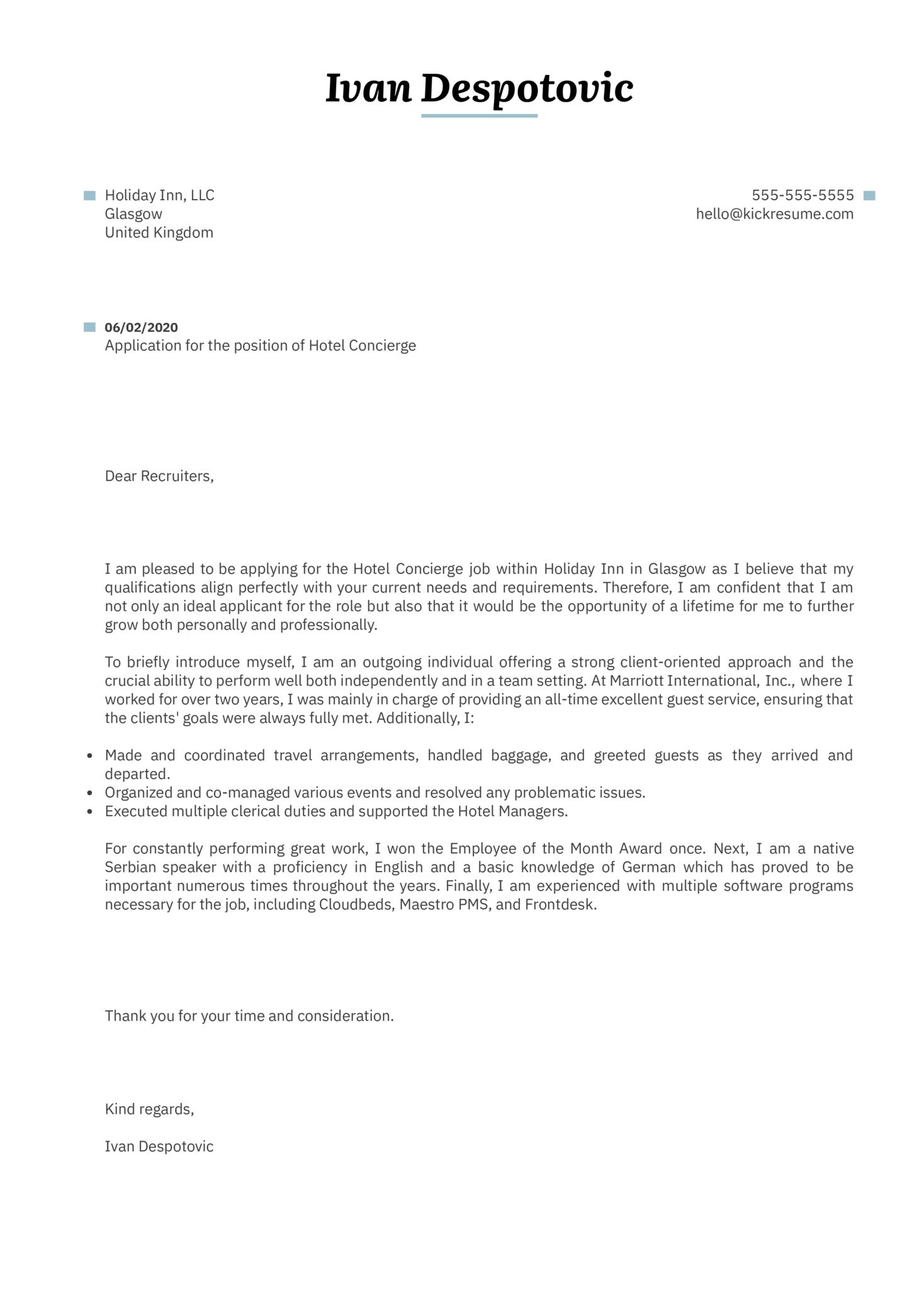 Hotel Concierge Cover Letter Sample
