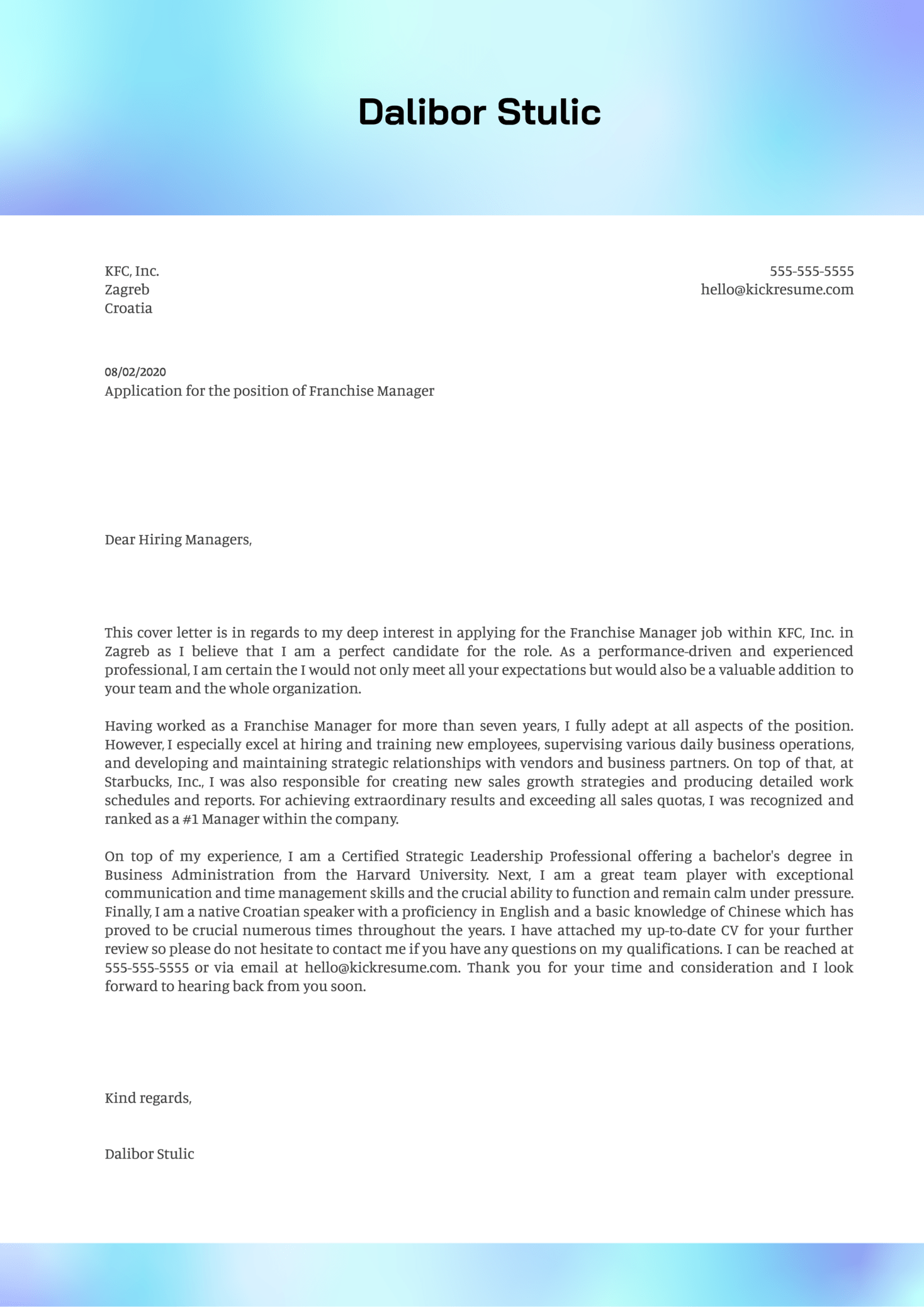Franchise Manager Cover Letter Example