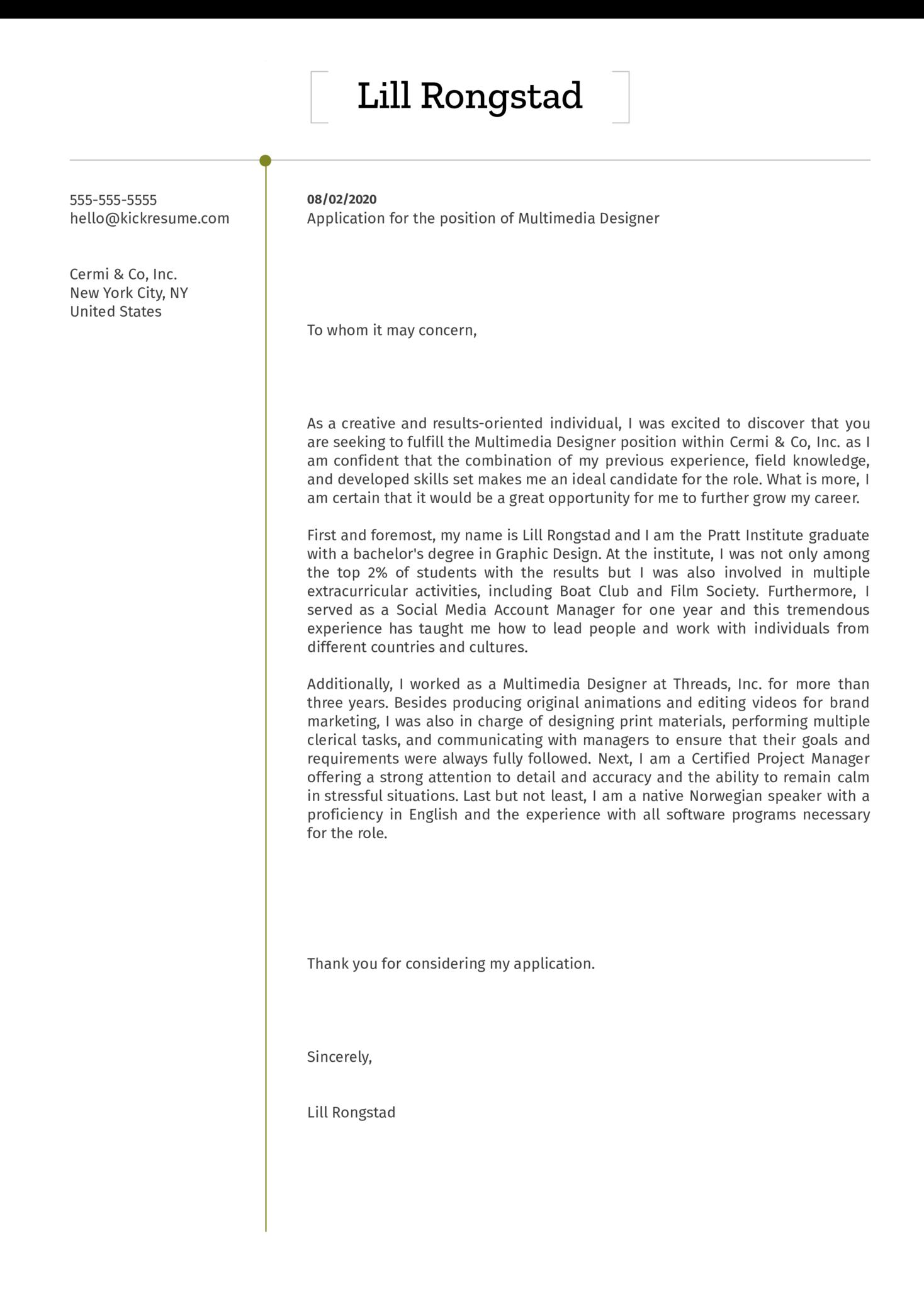 Multimedia Designer Cover Letter Example
